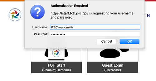 screenshot of the login screen with an Authentication Required pop-up window asking for a user name and password.